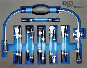 BGS Technic Dízel kisnyomású kör légtelenítő készlet   Ford, PSA, Opel, Fiat, Rover, Land Rover, Renault, Mercedes-Benz   7 darabos