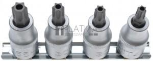BGS Technic Behajtófej-készlet | 12,5 mm (1/2) | T-profil (Torx) T40 furattal - T55 | 4 darabos