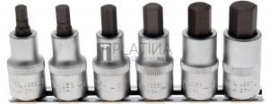 BGS Technic Behajtófej-készlet | 12,5 mm (1/2) | Belső hatszögletű 6 - 14 mm | 6 darabos