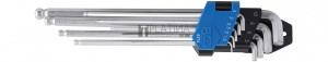 BGS Technic Derékszögű kulcs készlet | extra hosszú + extra rövid | Belső hatszögletű/Belső hatszögletű gömbfejes 1,5 - 10 mm | 9 darabos
