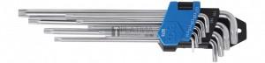BGS Technic Derékszögű kulcs készlet | extra hosszú + extra rövid | T-profil (Torx) T10 - T50 | 9 darabos