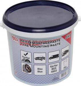 BGS Technic Abroncsszerelő paszta biztonsági abroncsokhoz | kék | 5 kg veder