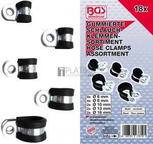 BGS Technic Gumírozott tömlőbilincs-készlet | Ø 6 - 16 mm | 18 darabos