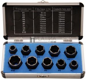 BGS Kraftmann Speciális dugókulcskészlet/Csavarkiszedő | belső hatszögletű 10 mm (3/8 ) / külső hatszögletű | 9 - 19 mm | 10 darabos
