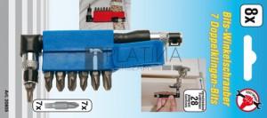 BGS Kraftmann Sarokcsavarozó 7 duplapengés bittel | külső hatszögletű kulcsnyílású hajtás 6,3 mm (1/4 ) | 8 darabos