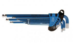 BGS Technic Derékszögű kulcs készlet | extra hosszú | Belső hatszögletű/Belső hatszögletű gömbfejes 1,5 - 10 mm | 9 darabos
