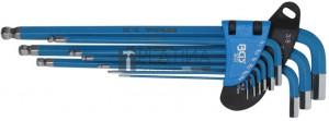 BGS Technic Derékszögű kulcs készlet | extra hosszú | Belső hatszögletű | coll méretek | 9 darabos