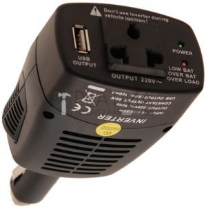 BGS Technic Feszültségátalakító 12 V auf 220 V 5 V-os USB csatlakozóhüvellyel