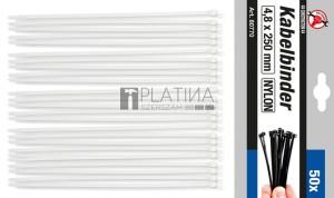 BGS Kraftmann Kábelkötegelő-készlet | fehér | 4,8 x 250 mm | 50 darabos