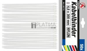 BGS Kraftmann Kábelkötegelő-készlet | fehér | 4,8 x 300 mm | 50 darabos
