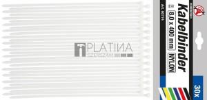 BGS Kraftmann Kábelkötegelő-készlet | fehér | 8,0 x 400 mm | 30 darabos