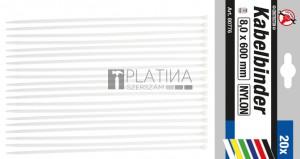 BGS Kraftmann Kábelkötegelő-készlet | fehér | 8,0 x 600 mm | 20 darabos