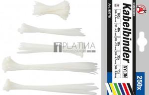 BGS Kraftmann Kábelkötegelő-készlet | fehér | 100 - 300 mm | 250 darabos