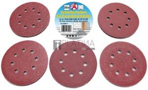 BGS Kraftmann Csiszolópapír excenteres csiszolóhoz | Ø 125 mm | K 40 - 180 | 25 darabos