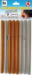 BGS Kraftmann Melegenragasztó-patronok | arany-/ezüst-metál | Ø 11 mm, 150 mm | 8 darabos