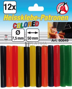 BGS Kraftmann Melegenragasztó-patronok | vegyes színű | Ø 7,5 mm, 50 mm | 12 darabos
