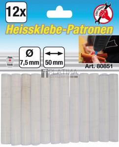 BGS Kraftmann Melegenragasztó-patronok | átlátszó | Ø 7,5 mm, 50 mm | 12 darabos