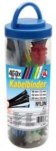 BGS Kraftmann Kábelkötegelő-készlet | színes | 100 - 200 mm | 450 darabos
