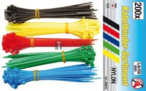 BGS Kraftmann Kábelkötegelő-készlet | színes | 2,4 - 100 mm | 200 darabos