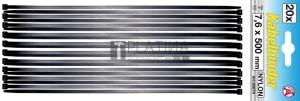 BGS Kraftmann Kábelkötegelő-készlet | fekete | 7,6 - 500 mm | 20 darabos