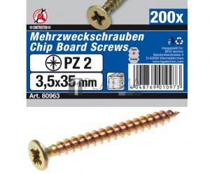 BGS Kraftmann Univerzális csavarok | csillag PZ2 | 3,5 x 35 mm | 200 db