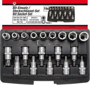 BGS Kraftmann Behajtófej-/dugókulcskészlet | belső hatszögletű 12,5 mm (1/2 ) | T-profil (Torx)/E-profil | 19 darabos