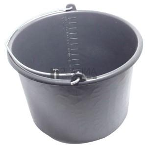 habarcsos vödör; 12 liter,fekete műanyag
