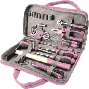 Extol szerszámkészlet, 39db, 1/4; Extol Lady, rózsaszín, 8 dugófej (5-14mm), fogó, csavarhúzók, kalapács, BIT-ek