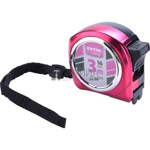 Extol Lady mérőszalag, gumírozott, 1 stoppos; rózsaszín, 3m×16mm