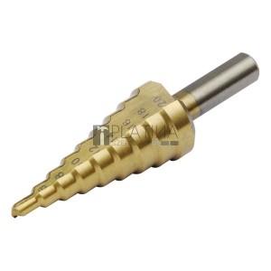 Extol lépcsős fémfúró, 9 lépcsős; (4-12mm, 1mm lépcsők), befogás: 10mm, max. 4mm vastag anyagokhoz, TiN bevonat