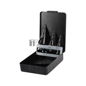 Extol lépcsős fémfúró klt, 3db; (4-12mm/1mm lépcsők,4-20mm/2mm,4-32mm/2mm) befogás:10mm, max.4mm vastag anyagokhoz, spirállal