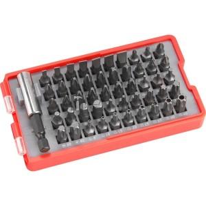 Extol behajtó klt. 51 db Cr.V., lapos:3-7mm, PH0-3, PZ0-3, HEX 1,5-6mm, T és TTa 8-40, övre akasztható műanyag tartóban