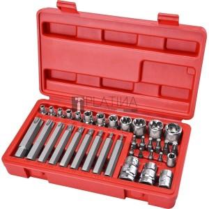 Extol BIT és dugókulcs klt. 35 db TORX, 1/4+8mm+10mm+12mm BIT-ek, 1/4+3/8 dugófejek, adapterek C.V. acél, műanyag dobozban