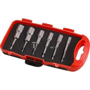 Extol behajtó klt. hatlapfejű csavarhoz 6db, 6-13mm (6-7-8-10-12-13mm), 65mm hossz, 1/4 hatszög befogás, mágneses, Cr.V.
