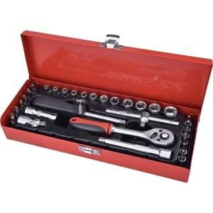 Extol dugókulcs klt., CV., racsnis 45fog ; 1/4 30db, normál (4-14mm) dugófejek, bitdugófej (-, +, imbusz, torx), fém doboz