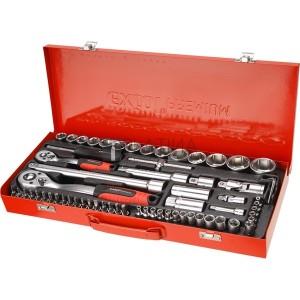 Extol Premium 65 részes dugókulcs készlet fém dobozban  1/4 és 1/2