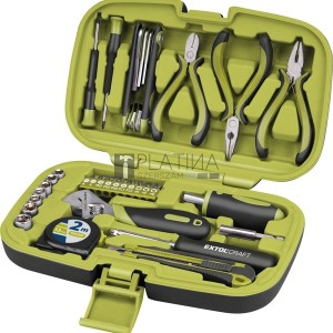 Extol szerszámkészlet, 35db, 1/4 CV; 7 dugófej (5-11mm), áll.villáskulcs, fogók,órás csavarhúzók, imbuszkulcs,kés, mérőszalag