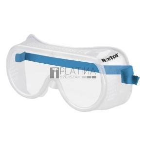 Extol védőszemüveg, víztiszta, sík polikarbonát lencse, gumis fejpánt, CE, optikai osztály: 1, ütődés elleni védelmi osztály:F