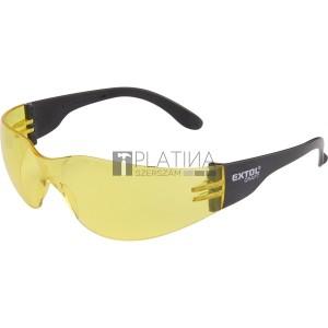 Extol védőszemüveg, sárga, polikarbonát, CE, optikai osztály: 1, ütődés elleni védelmi osztály: F