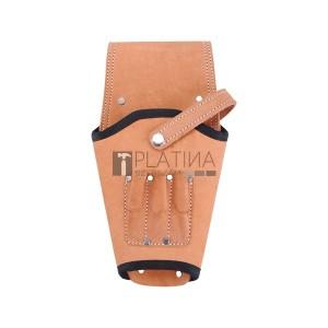 Extol szerszámtáska akkus csavarbehajtóhoz, bőr, övre fűzhető; 3 zsebbel, jobbos-balos