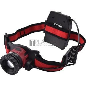 Extol LED fejlámpa, 10 W, CREE XPL, 450 Lumen; tölthető akkuval, zoom + 3 funkció (teljes/ 1/4 fényerő, villogás), fehér+piros