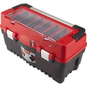 Extol szerszámosláda, műanyag 595×289×328mm, fémcsatos, tálcával, lakatolható, ALU nyél