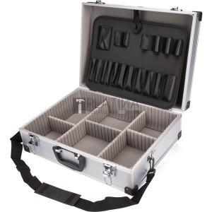 Extol szerszámtáska (koffer) alumínium; 460×330×155 mm, ezüst színű, hordszíjjal
