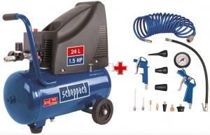Scheppach HC 25o olajmentes kompresszor + 14 részes tartozék készlet
