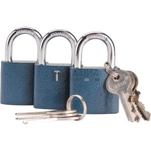 Extol biztonsági vas lakat klt., 38mm, 3 db lakat+6 db kulcs, univerzális kulcsok: egy kulcs jó mindhárom lakathoz