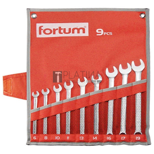 Fortum csillag-villás kulcs klt. 9db, 6-19mm 61CrV5, mattkróm, vászon tok