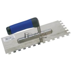 Glettelőkanál 13×27cm rozsdamentes csempéző 10×10mm, SOFT gumi nyél