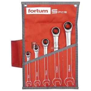 Fortum racsnis csillag-villás kulcs klt. 5db, 61CrV5/S2, mattkróm; 8-10-13-17-19mm