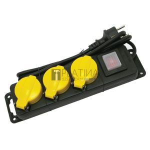 Villamos elosztó/hosszabbító, kapcsolóval, kültéri IP44, 3 aljzat, 1,5m