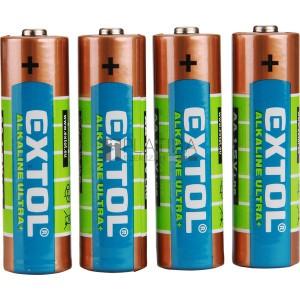 EXTOL elem klt. 4 db, alkáli, 1,5V, méret: AA (LR6)